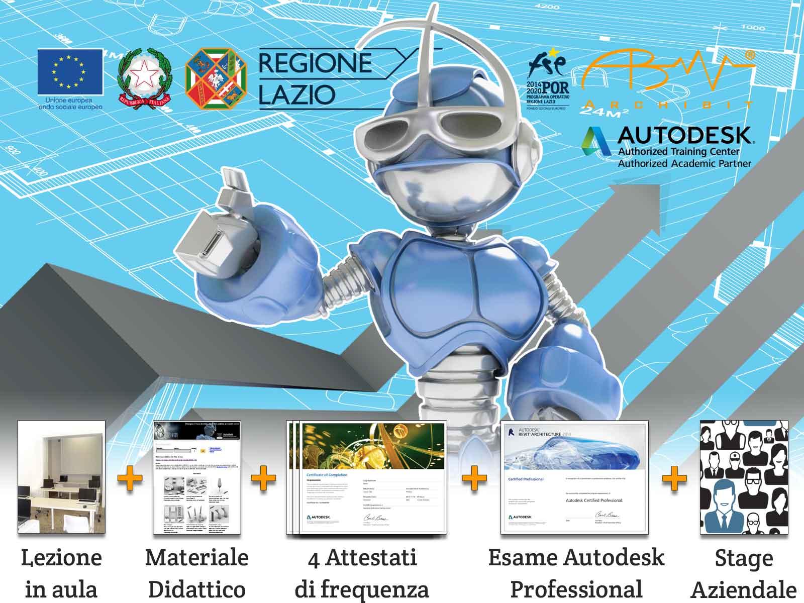 bando-mestieri-corso-gratuito-tecnico-del-disegno-edile-regione-lazio-certificazioni-autodesk-professional-cad-revit-3ds-max-archibit-corsi-roma