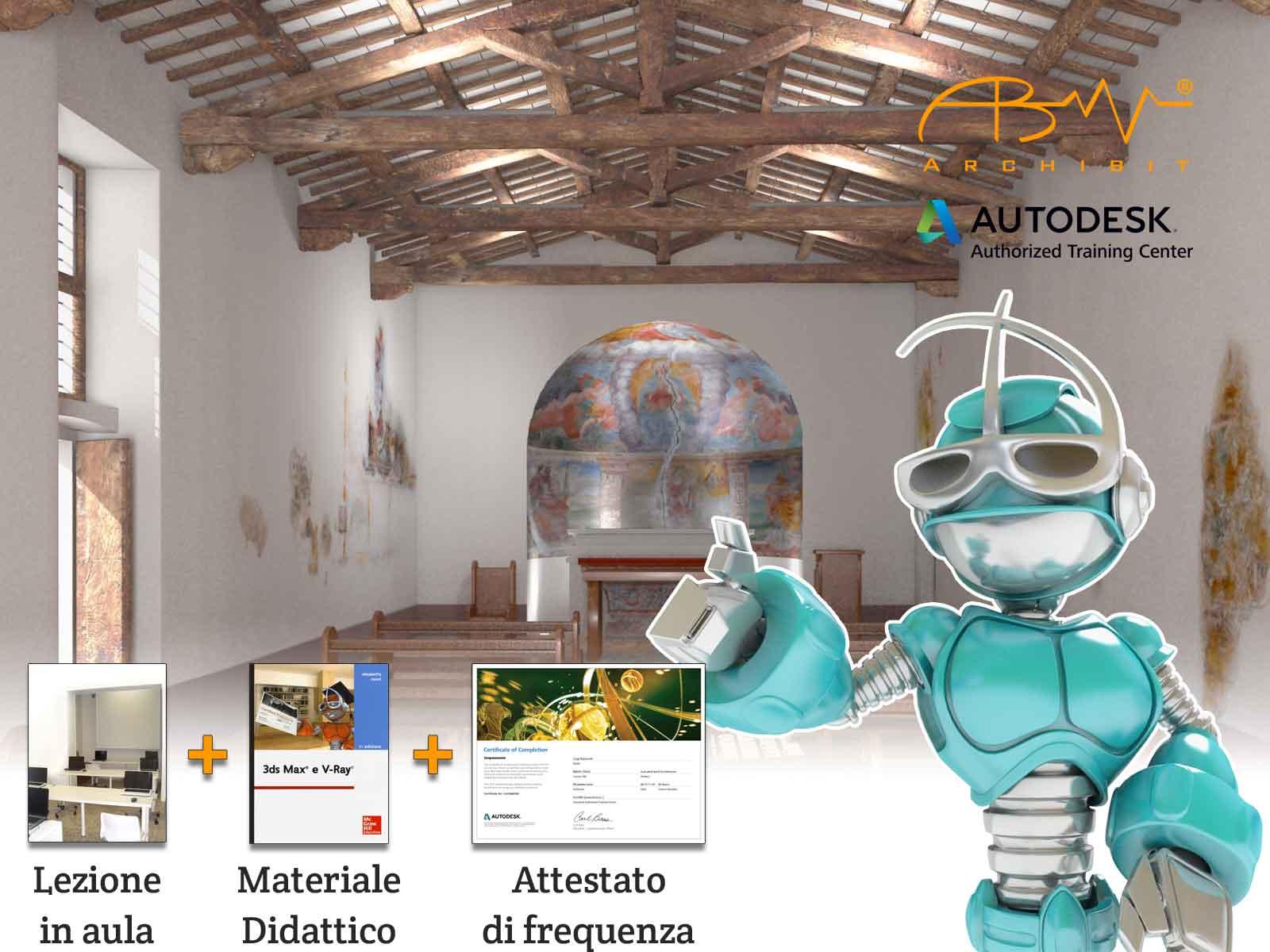 corso 3ds max animazione e fotomontaggio 3d autodesk certificato archibit centro corsi grafica 3d roma