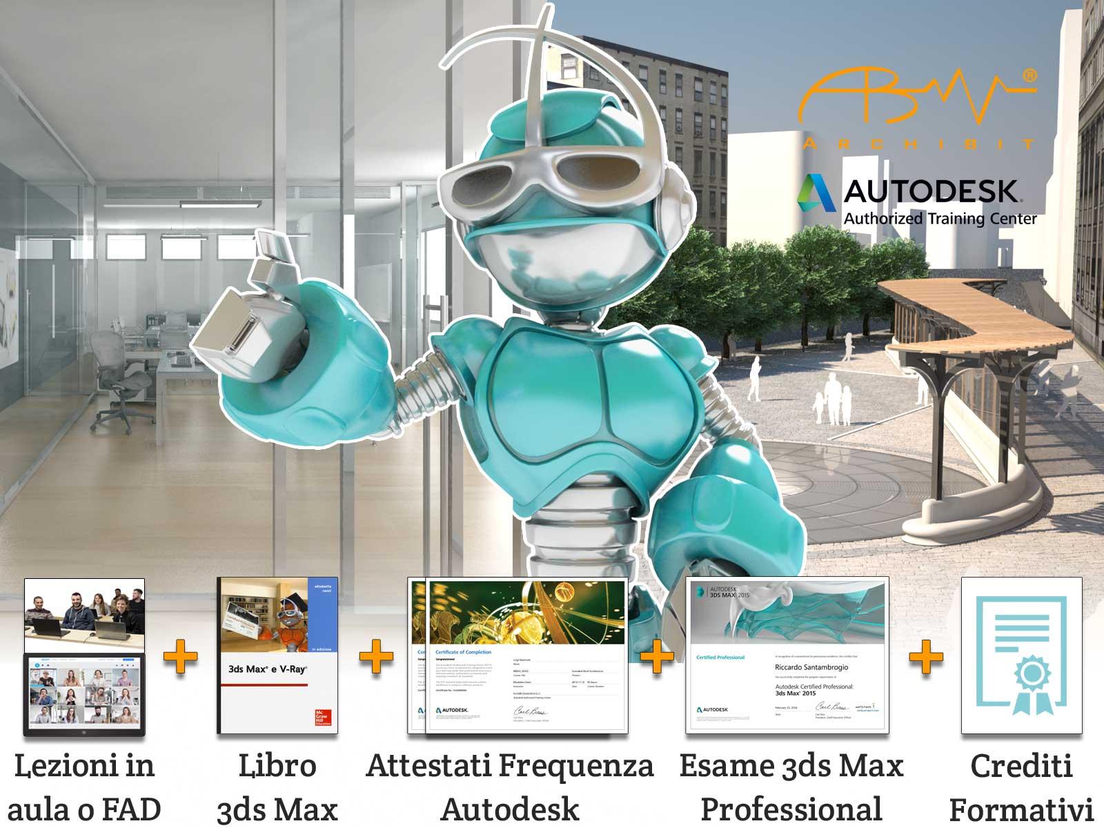 corso modellazione 3d render vray animazione tridimensionale computer grafica 3ds max con certificazione autodesk archibit generation srl centro corsi professionali roma